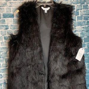 Time And True Black Faux Fur Vest Medium New